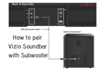 How to pair Vizio soundbar with subwoofer