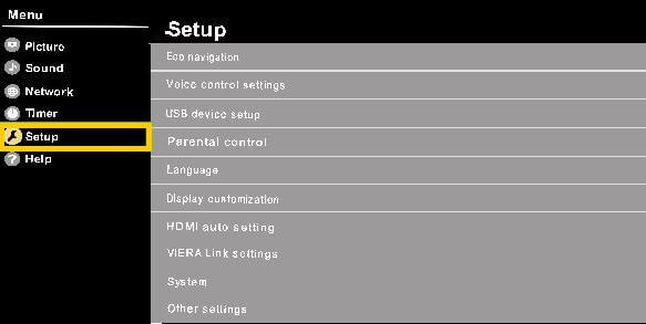 Reset factory settings on panasonic tv