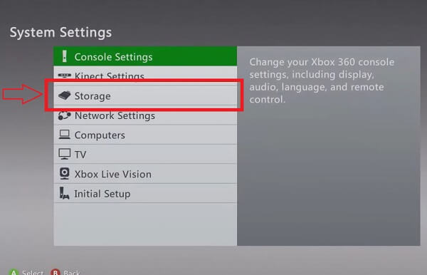 System Settings Menu Xbox