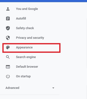 google chrome appearance