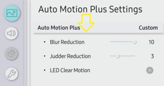 auto motion plus samsung tv settings