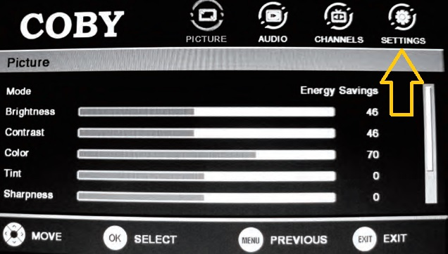 how to reset a coby tv