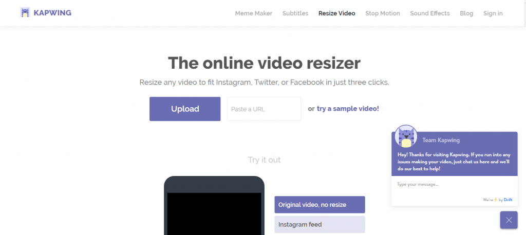 online video resizer