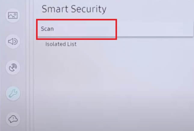 samsung tv virus scan