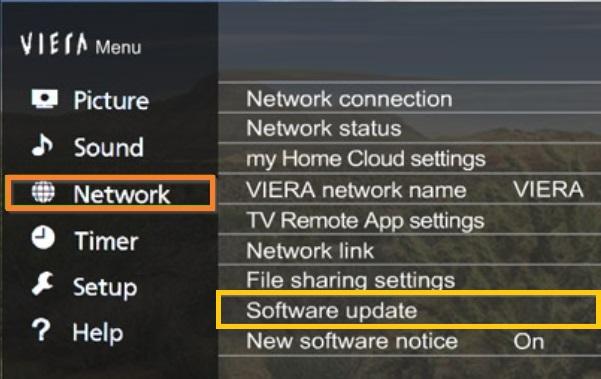 software update option selection on panasonic tv